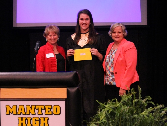 Graduate Kaitlynne Ludolph poses with Cindy Edwards and Colleen Shriver at Manteo High's scholarship awards night after receiving an Outer Banks Association of Realtors Scholarship. Photo courtesy of the Outer Banks Community Foundation.
